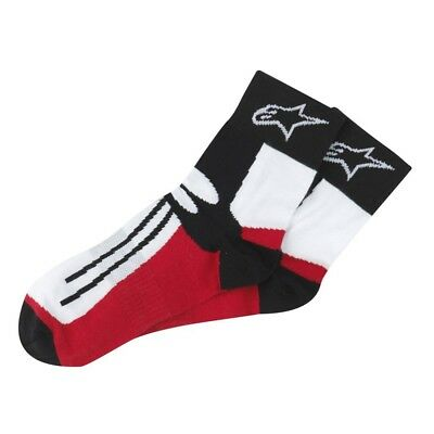 Alpinestars Motorcycle Motorbike Racing Road Short Socks - Red/Black/White