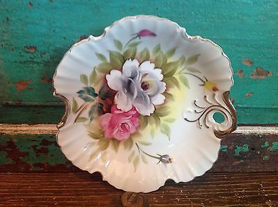 Vintage Hand Painted Candy Dish, Fine Bone China, Signed Shufford, Krohmir Rose