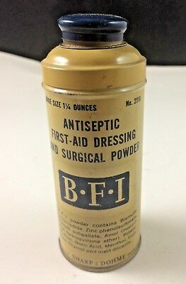 Vintage BFI Antiseptic First Aid Dressing & Surgical Powder Sharp & Dohme tin!!!