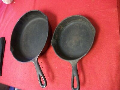 """VINTAGE UNMARKED CAST IRON 10"""" and 7"""" INCH SKILLET"""