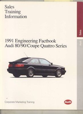 1991 Audi US 80 90 Coupe Quattro Salesmans Engineering Fact Book Brochure wy9662