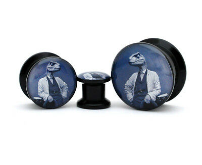 Pair of Black Acrylic Dapper Raptor Picture Plugs gauges 8g through 1 inch