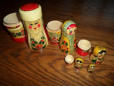Vintage Made In Russia Nesting Dolls- #5 Wooden/ Labeled/ Holiday/floral Design