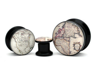 Pair of Black Acrylic Antique Map Style 2 Picture Plugs gauges 8g through 1 inch