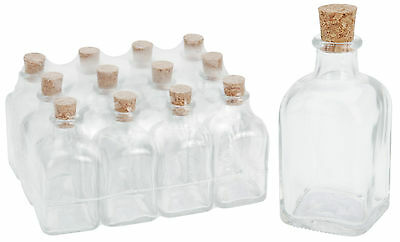 12 Glass Bottles with Cork Stoppers 100ml or 500ml Glass Vials Craft Bottles