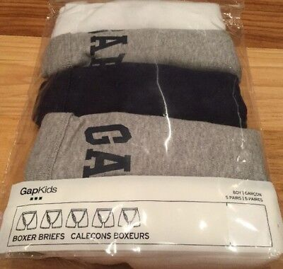 Gap Kids Boys Small (6-7) Set Of 5 GAP Solid Color Boxer Brief Underwear. Nwt