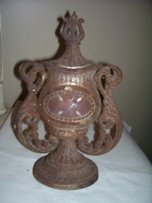 "Vintage Cast Iron Wood Stove 10.5"" Finial Topper Ornate Piece"