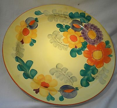 """Art Deco Susie Cooper Grays Pottery 7996 14.1/4"""" Hand Painted Floral Charger"""
