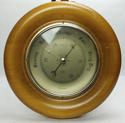 Vintage SHORTLAND SMITHS Compensated Barometer England Wood Glass Brass Nautical
