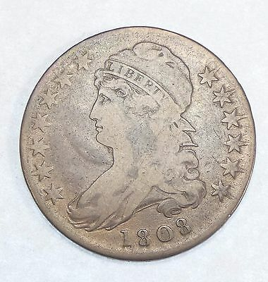 1808 Capped Bust/Lettered Edge Half Dollar FINE Silver 50-Cents