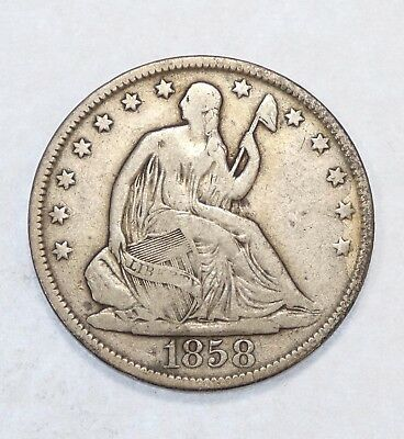 1858-O Liberty Seated Half Dollar FINE Silver 50-Cents