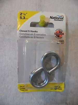 """8 National 2-1/8"""" Zinc Plated Light N121-277 Closed S Hook 8 pk of 3 NEW [BX20]"""