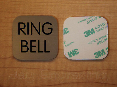 Engraved 2x2 Brushed Metal RING BELL Plastic Tag Sign Plate | Doorbell Plaque