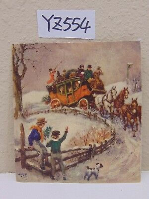 Vintage Christmas Card Mid Century-Stagecoach Horse & Carriage-Dog-People-Snow