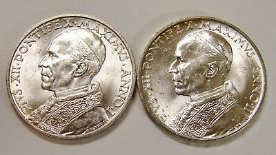 Vatican - 1939 & 1940 - Pair of Brilliant Uncirculated 5 Lire Coins