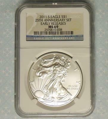 2011 S NGC MS 69 Silver Eagle Dollar, 1 Ounce Silver $1 from 25th Anniv. Set