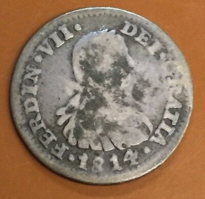 1814 Spain 1 Reale Spanish One Real Silver Original Coin - TCC