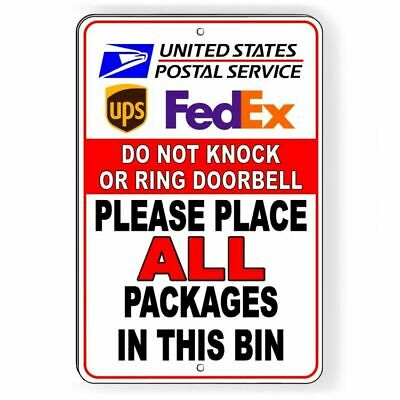 Please Deliver All Packages To Carport Door Sign METAL 3 Sizes usps ups SI102