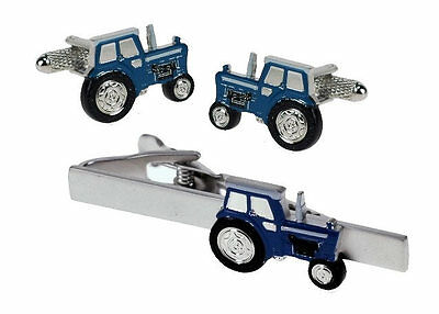 Blue Farming Tractor  Cufflinks & Tie Bar Set NEW in BOX