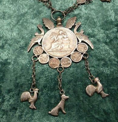 54 Silver Coin Necklace Trench Art 1894 Peso & 1/4 Reale Dog Duck Ram Charms