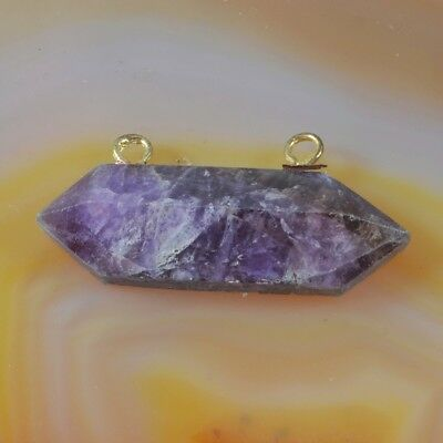 Natural Amethyst Faceted Point Connector H108030