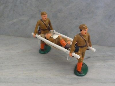 Vtg Barclay Manoil Lead Toy Soldiers Wounded Soldiers Carrying Cot WWI WWII Set