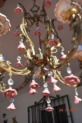 Beautiful  French Crystal & Ceramic  Chandelier Boudoir Chic