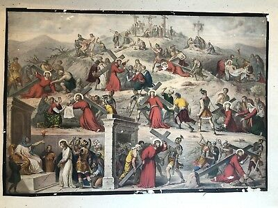 Antique 19th Century Hand Colored Religious Lithograph Last Day Of Christ Jesus