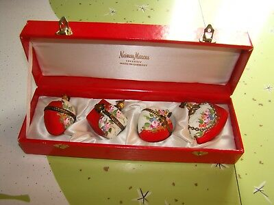 Neiman Marcus Exclusiv Germany Set/4 Limoges Trinket Box ORNAMENTS Valentines