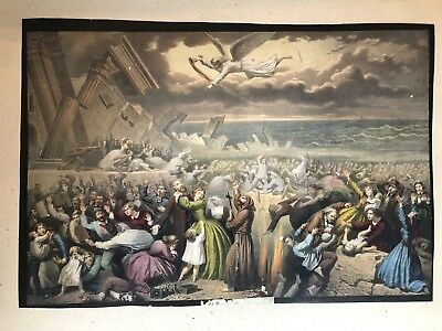 Antique 19th Century Hand Colored Religious Lithograph Last Days Armageddon