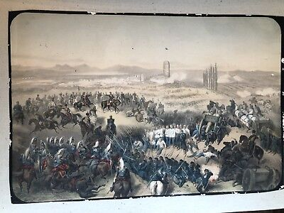 Antique 19th Century Hand Colored Lithograph War Battle Fight Scene Military