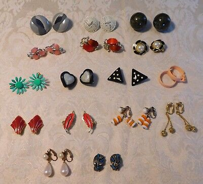 VINTAGE LOT of  ASSORTED  RETROP CLIP EARRINGS…16 PAIR…UNBRANDED