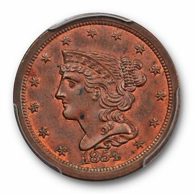 1854 1/2C Braided Hair Half Cent PCGS MS 63 BN Looks Red Brown !