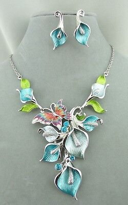 Blue Lily Necklace Earrings Set Butterfly Rhinestone Silver Fashion Jewelry NEW