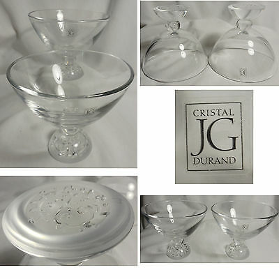 Set of 2 JG DURAND Cristal Frosted Etched Bottoms Footed Candy Dish Bowl Chalice