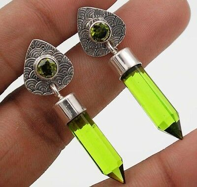 "12CT Peridot 925 Solid Sterling Silver Earrings Jewelry 1 2/3"" Long"