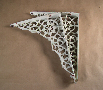 "Antique Pair Ornate Cast Iron Victorian Shelf Brackets Victorian Iron 8"" by 6"""