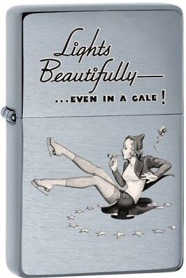 Zippo WINDY GIRL Choice Lights Beautifully Brushed Chrome Lighter 28537 **NEW**