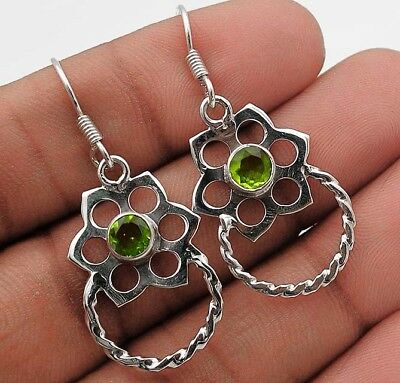 "Peridot 925 Solid Sterling Silver Earrings Jewelry 1 2/3"" Long"