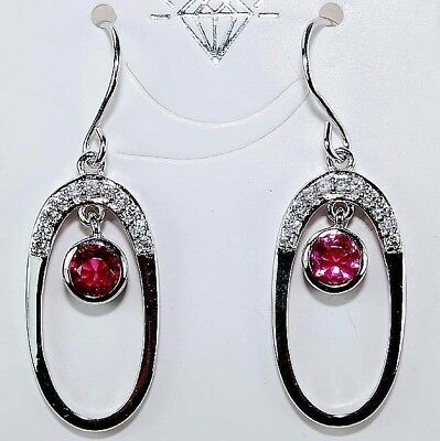 1CT Ruby & White Topaz 925 Solid Sterling Silver Earrings Jewelry, T4-3