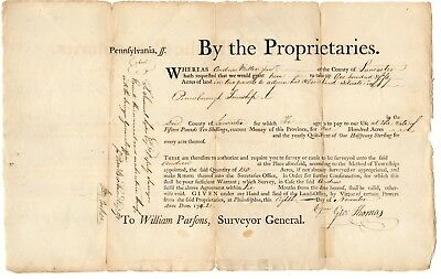 1742 PA Deputy Governor George Thomas order a survey - Quit-rent of 1/2 penny