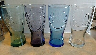 McDonalds Retro Fountain Glasses (4) Green1948/Purple1955/Blue1961/Clear1992 D