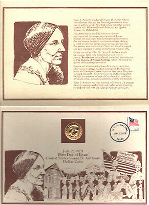Uncirculated 1979 Susan B Anthony Coin 1st Day Issue 24 - Karat Gold Plated