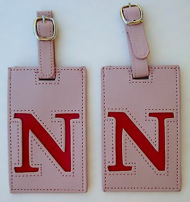 i Pink Pink set of 2 INITIAL N LUGGAGE TAG Vegan leather Ganz Travel Bag ID