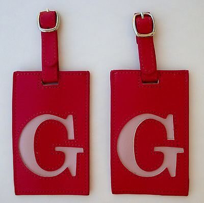 i Pink Pink set of 2 INITIAL G LUGGAGE TAG Vegan leather Ganz Travel Bag ID