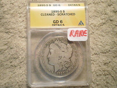 1895-S Morgan Silver Dollar Gd6 Anacs/ Cleaned-Scratched