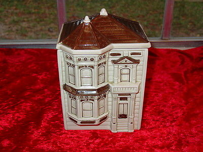 Rare Vintage Otagiri 1980 Small Victorian House Canister~7 Inches High~Charming!