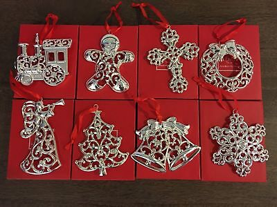 Lenox Sparkle and Scroll Crystal Silverplate Ornaments-Set of 8-Gingerbread Man