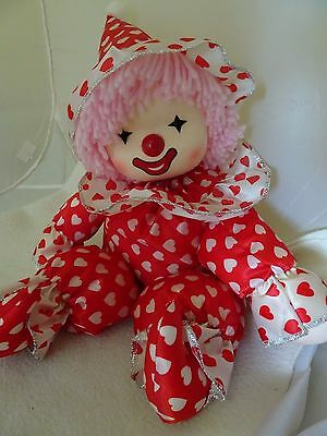 """Poler Toys Windup Musical Plush Clown-""""small World""""-Head Turns-Red/white Hearts"""