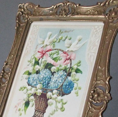 Antique c1900 Decorative Embossed Brass Frame w Wire Easel BASKET of FLOWERS